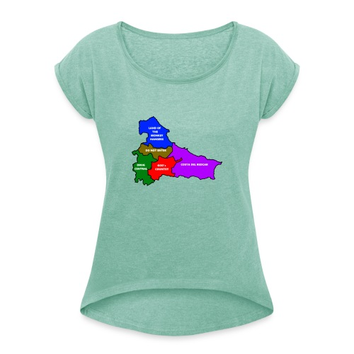 Teesside map - Women's T-Shirt with rolled up sleeves