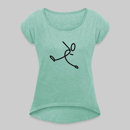 Strichmännchen - Frauen T-Shirt mit gerollten Ärmeln