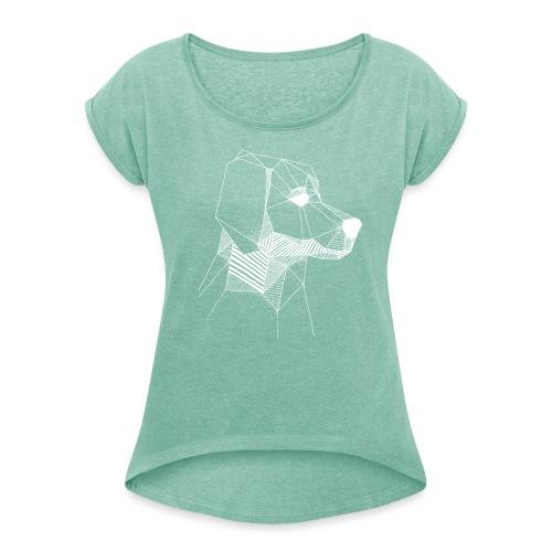 Golden Retriever Geometrisch Wit - Vrouwen T-shirt met opgerolde mouwen