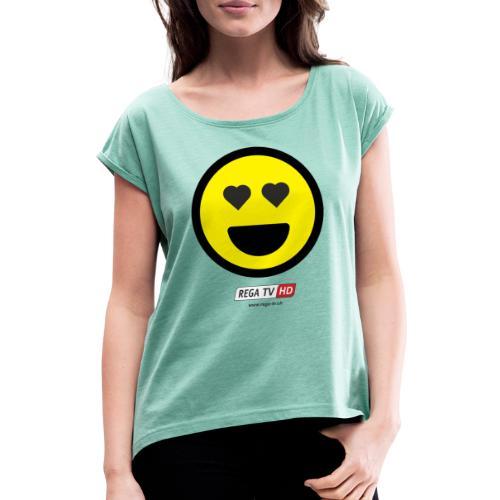 REGA-TV: Smile Herz - Frauen T-Shirt mit gerollten Ärmeln