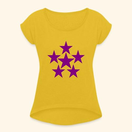 5 STAR lilla - Frauen T-Shirt mit gerollten Ärmeln