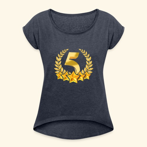 Fünf-Stern 5 sterne - Frauen T-Shirt mit gerollten Ärmeln