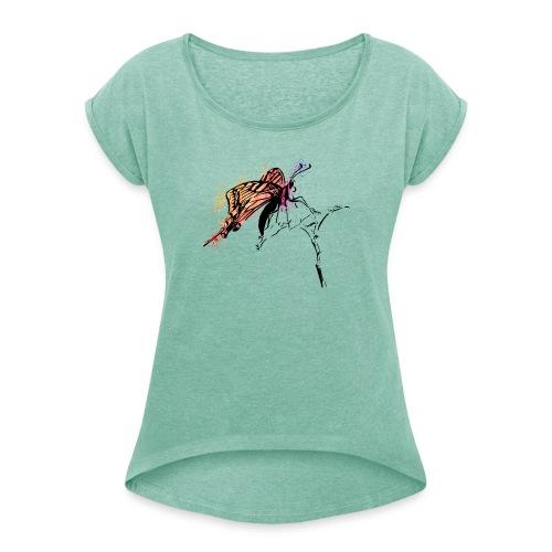 Schmetterling in Aquarelloptik - Frauen T-Shirt mit gerollten Ärmeln
