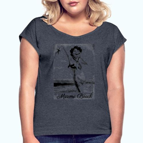 Vintage Travel Miami - Women's T-Shirt with rolled up sleeves