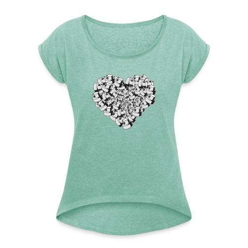 heart for art street love - Dame T-shirt med rulleærmer