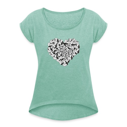 heart for art street love - Dame T-shirt med rulleærmer