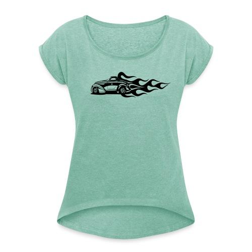 auto - Frauen T-Shirt mit gerollten Ärmeln