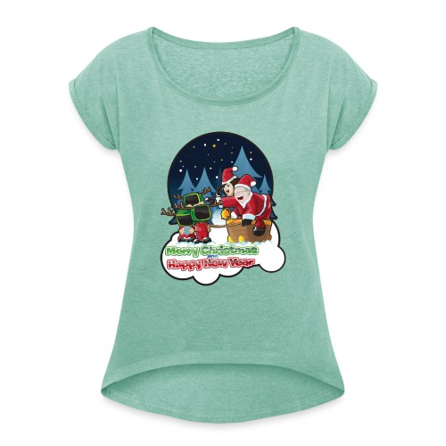 Merry Christmas And Happy New Year - Women's T-Shirt with rolled up sleeves