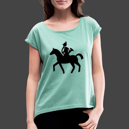Parforcehornbläserin zu Pferd-Shirt für Jägerinnen - Frauen T-Shirt mit gerollten Ärmeln