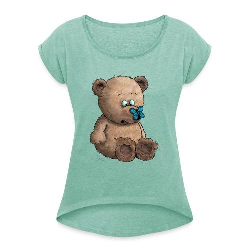 Teddybär - Frauen T-Shirt mit gerollten Ärmeln