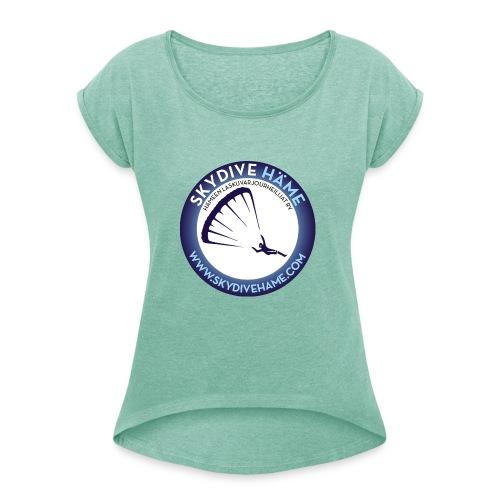 Naisten svetari - Naisten T-paita, jossa rullatut hihat