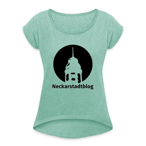 Logo mit Schriftzug invertiert (Alternative Farben - Frauen T-Shirt mit gerollten Ärmeln