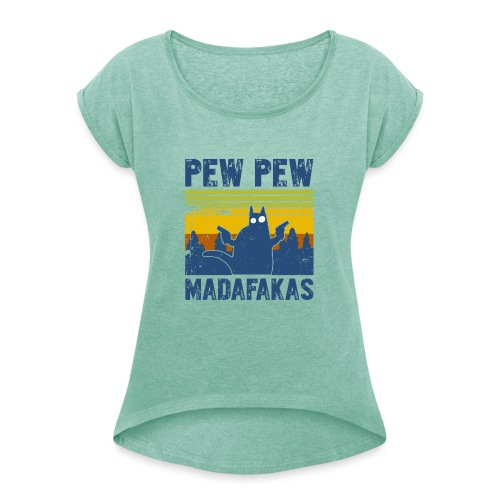PEWPEW - Vrouwen T-shirt met opgerolde mouwen
