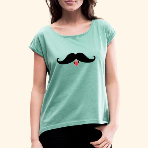 Fresh Moustache - Frauen T-Shirt mit gerollten Ärmeln