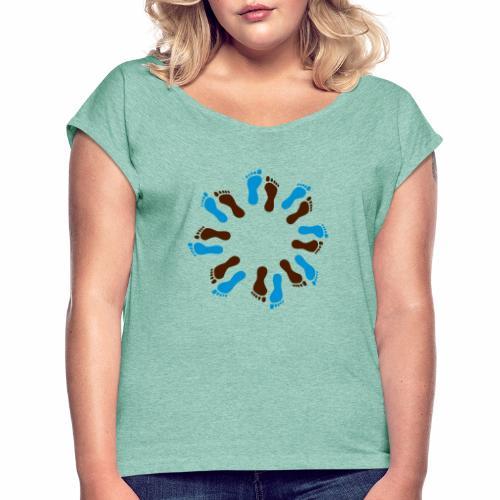 Barfuß-Kreis blau-braun - Frauen T-Shirt mit gerollten Ärmeln