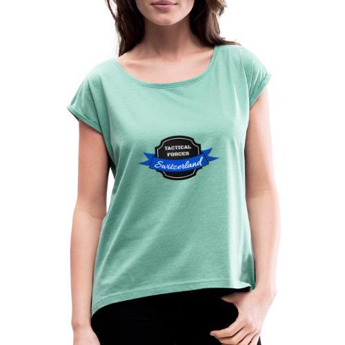 TFS Ruban noir et bleu - T-shirt à manches retroussées Femme
