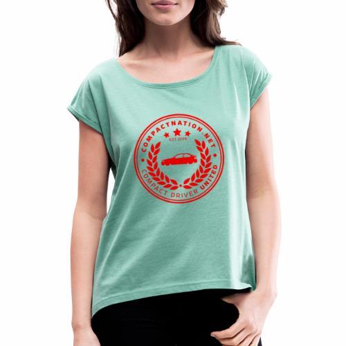 Compactnation Badge 2020 - Frauen T-Shirt mit gerollten Ärmeln