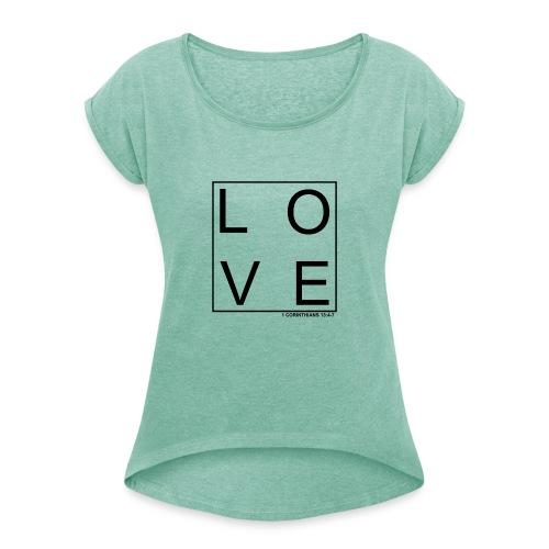LOVE - Camiseta con manga enrollada mujer