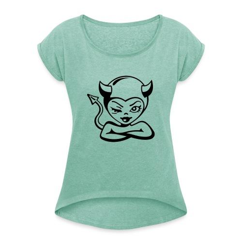 Diablica - Koszulka damska z lekko podwiniętymi rękawami