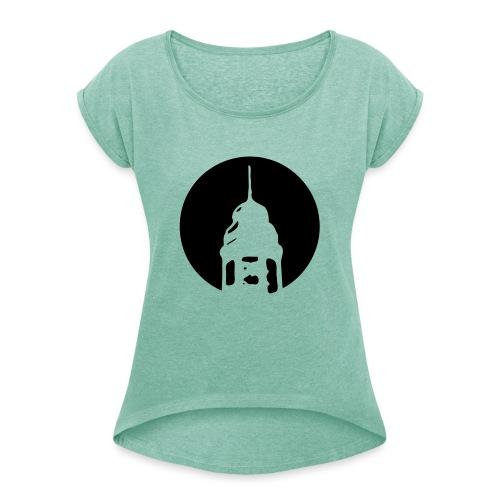 Logo invertiert (Alternative Farben) - Frauen T-Shirt mit gerollten Ärmeln