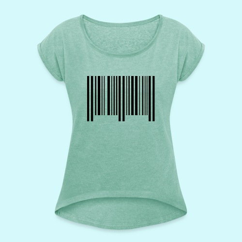 barcode - schwarz - Frauen T-Shirt mit gerollten Ärmeln