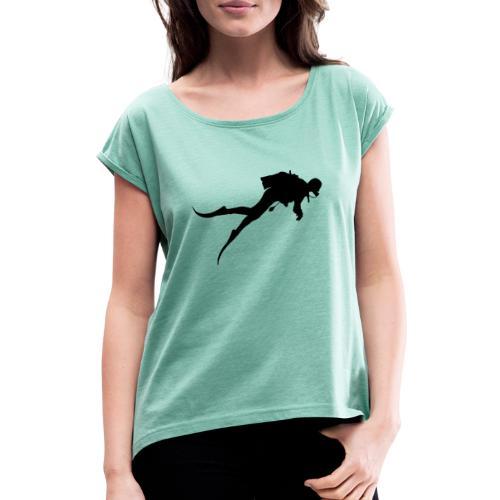 Taucher - Frauen T-Shirt mit gerollten Ärmeln