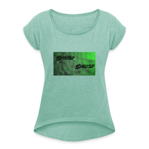 t-shirt met gpower - Vrouwen T-shirt met opgerolde mouwen