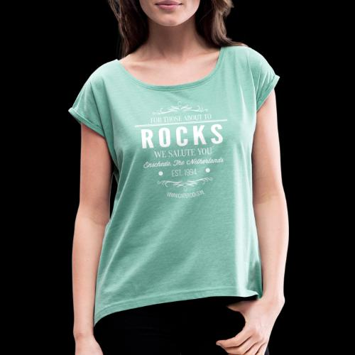 Vintage Rocks Label - Vrouwen T-shirt met opgerolde mouwen