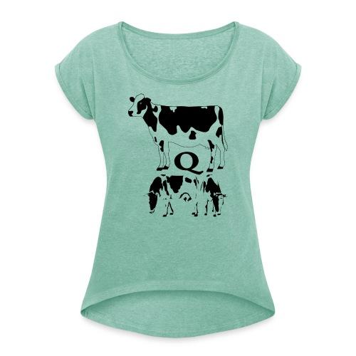 KUH,Q - Frauen T-Shirt mit gerollten Ärmeln