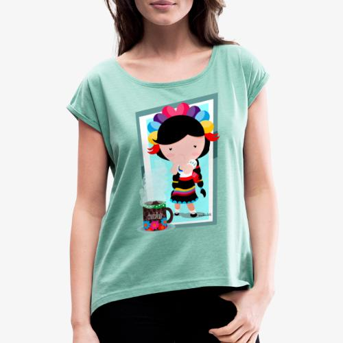 mexicanita - Camiseta con manga enrollada mujer