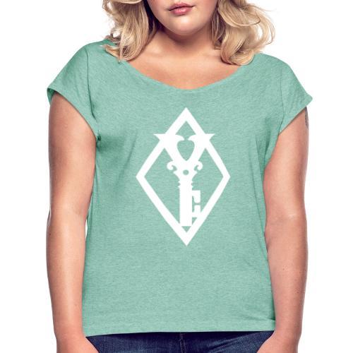 Clean Diamond Key White - T-skjorte med rulleermer for kvinner