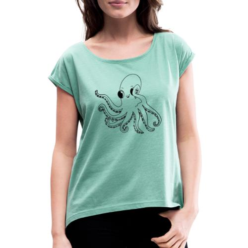 Little octopus - Women's T-Shirt with rolled up sleeves