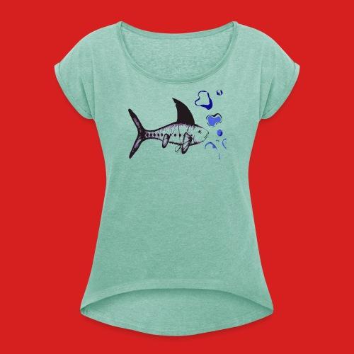 Hai-Fisch - Frauen T-Shirt mit gerollten Ärmeln
