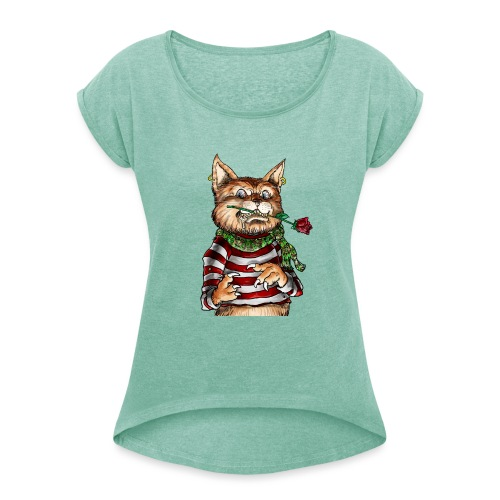 T-shirt - Crazy Cat - T-shirt à manches retroussées Femme