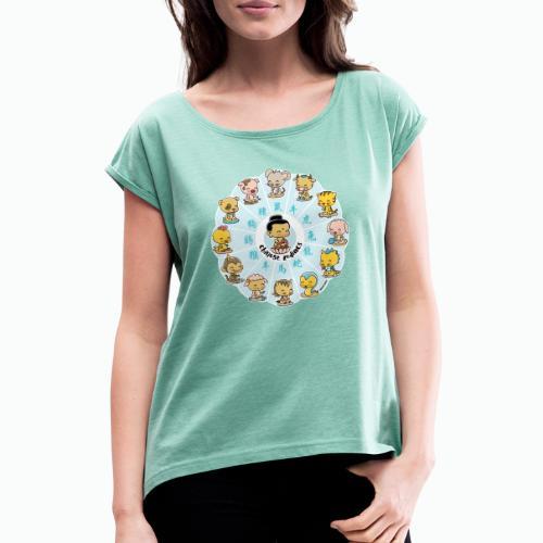 Chinese Zodiacs - Frauen T-Shirt mit gerollten Ärmeln