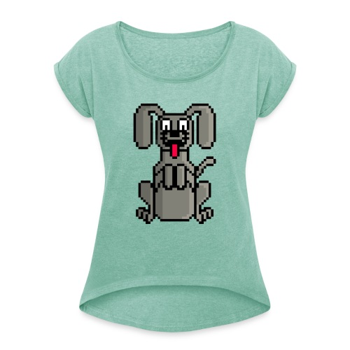 PerroPixelArt - Camiseta con manga enrollada mujer