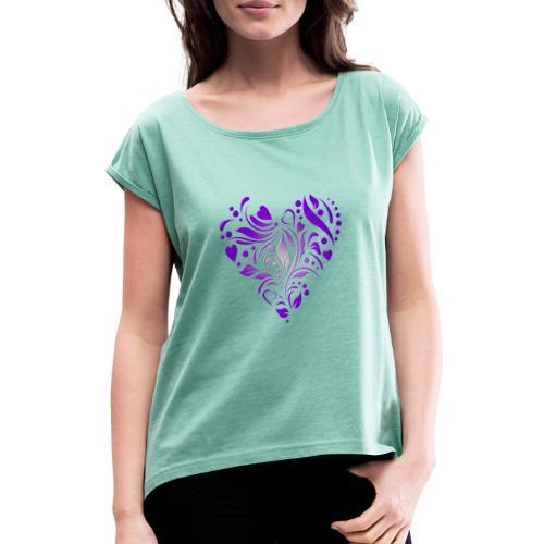 coeur mauve - T-shirt à manches retroussées Femme