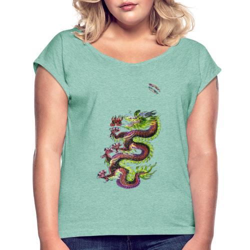 Dragon Randy Design - Frauen T-Shirt mit gerollten Ärmeln