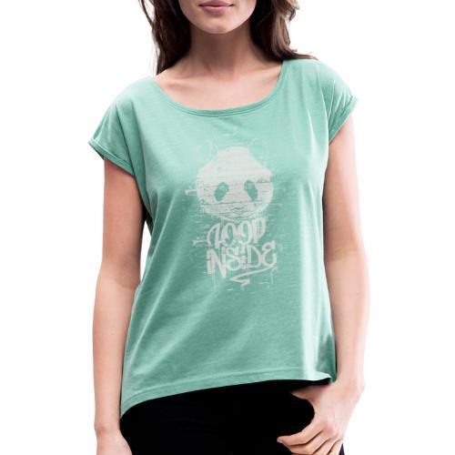 Graffiti Panda Inside - Frauen T-Shirt mit gerollten Ärmeln