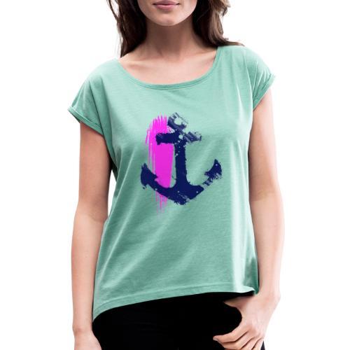 Art Anker - Frauen T-Shirt mit gerollten Ärmeln