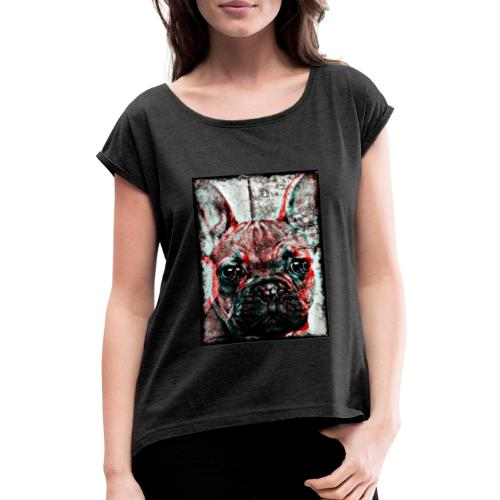 French Bulldog - Retro - T-shirt med upprullade ärmar dam