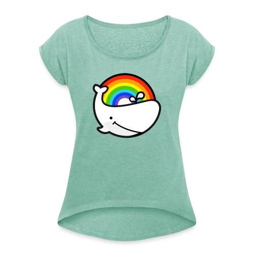 whale - T-shirt med upprullade ärmar dam