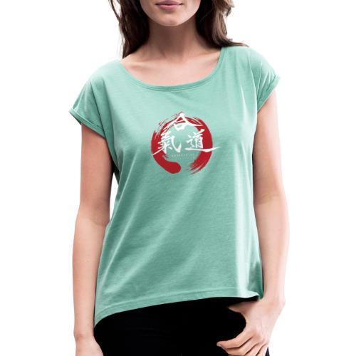 KAK logo white ink - Dame T-shirt med rulleærmer