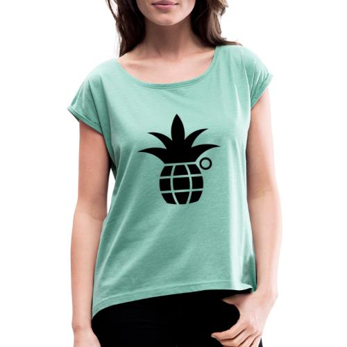 IRONVEG BLACK - Maglietta da donna con risvolti
