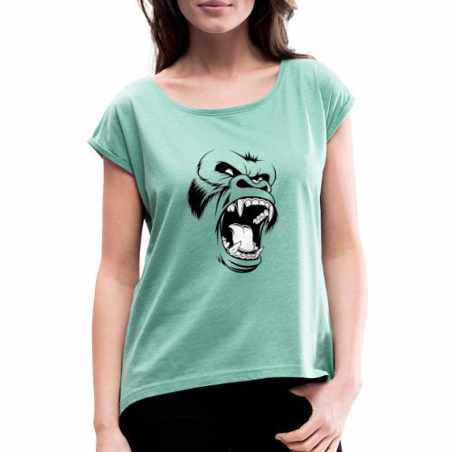 logo tête de gorille - T-shirt à manches retroussées Femme