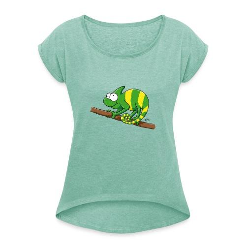 chamaeleon - Frauen T-Shirt mit gerollten Ärmeln