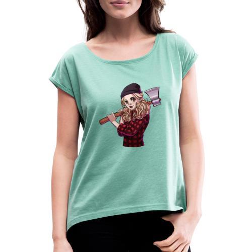 Münster   HOLZ - Frauen T-Shirt mit gerollten Ärmeln