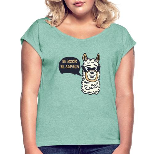 be Rock be Alpaka - Maglietta da donna con risvolti