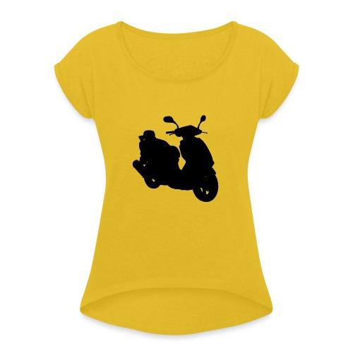 Daelim Otello Silhouette von vorne rechts - Frauen T-Shirt mit gerollten Ärmeln