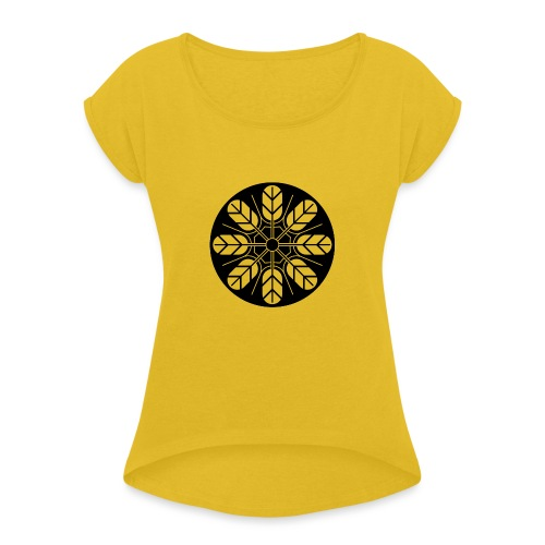 Inoue clan kamon in black - Women's T-Shirt with rolled up sleeves